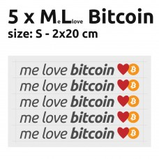 Me Love Bitcoin stickers S 2x20 cm - pack of 5