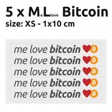 Me Love Bitcoin stickers XS 1x10 cm - pack of 5